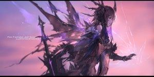 Rating: Safe Score: 92 Tags: brown_hair elbow_gloves gloves long_hair original pixiv_fantasia purple_eyes swd3e2 sword watermark weapon wings User: RyuZU