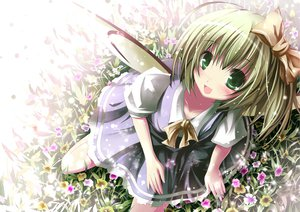 Rating: Safe Score: 70 Tags: apple228 daiyousei fairy flowers green_eyes short_hair touhou wings User: Wiresetc