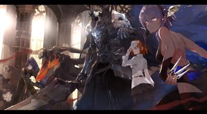 Rating: Safe Score: 62 Tags: armor cursed_arm_hassan dark_skin elbow_gloves fate/grand_order fate_(series) fujimaru_ritsuka_(female) gloves group hassan_of_serenity hundred-faced_hassan king_hassan male mask mono_(jdaj) orange_eyes orange_hair purple_eyes purple_hair sword weapon User: BattlequeenYume