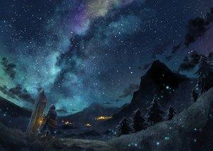 Rating: Safe Score: 109 Tags: cape clouds grass hoodie night original rien_(sonidori) scenic sky stars tree User: RyuZU