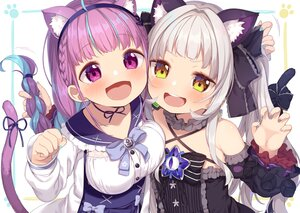 Rating: Safe Score: 46 Tags: 2girls animal_ears blush bow catgirl close flat_chest gray_hair hololive long_hair minato_aqua muku-coffee murasaki_shion purple_eyes purple_hair ribbons tail twintails yellow_eyes User: Maboroshi