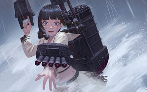 Rating: Safe Score: 31 Tags: anthropomorphism kantai_collection kitakami_(kancolle) rain torn_clothes water weapon yue_(tada_no_saboten) User: Dreista