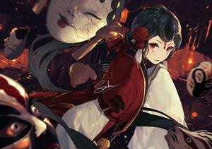 Rating: Safe Score: 76 Tags: black_hair long_hair mask menreiki_(onmyouji) onmyouji red_eyes saika_(saika_nyan) signed User: RyuZU
