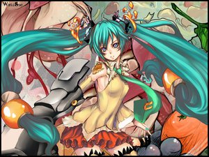 Rating: Safe Score: 39 Tags: aqua_eyes aqua_hair food hatsune_miku thighhighs tie twintails vocaloid User: Maboroshi