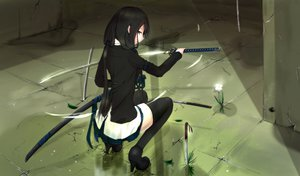 Rating: Safe Score: 350 Tags: black_hair katana kikivi original red_eyes sword thighhighs weapon User: FormX