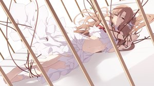 Rating: Safe Score: 86 Tags: barefoot brown_eyes brown_hair cage cait dress long_hair navel pointed_ears ribbons rope sword_art_online yuuki_asuna User: ssagwp