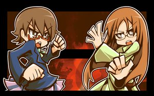Rating: Safe Score: 7 Tags: 2girls brown_eyes brown_hair drpow glasses k-on! long_hair manabe_nodoka short_hair yamanaka_sawako User: PAIIS