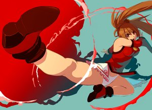 Rating: Safe Score: 42 Tags: blue boots breasts brown_eyes brown_hair chinese_clothes guilty_gear kick kondou_totetsu kuradoberi_jam long_hair panties red skintight twintails underwear User: FormX