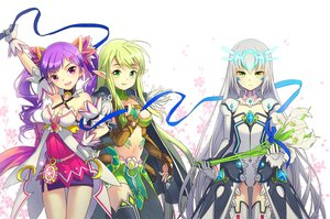 Rating: Safe Score: 117 Tags: aisha_(elsword) breasts cleavage elsword eve_(elsword) flowers gloves green_eyes green_hair heart long_hair navel purple_eyes purple_hair rena_(elsword) ribbons ron_(lovechro) skirt thighhighs twintails white_hair User: STORM