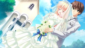 Rating: Safe Score: 30 Tags: blush chimaro flowers game_cg green_eyes kisaragi_gold_star male nitta_futami nitta_ichika saga_planets suit wedding wedding_attire User: Tensa
