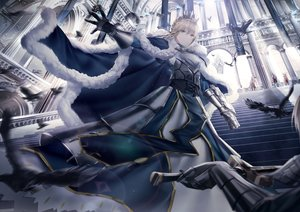 Rating: Safe Score: 92 Tags: animal armor artoria_pendragon_(all) bird blonde_hair braids cape fate/grand_order fate_(series) feathers junpaku_karen lancelot_(fate) merlin_(fate/grand_order) mordred saber short_hair stairs sword weapon User: BattlequeenYume