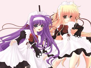 Rating: Safe Score: 20 Tags: 2girls alisa_bannings blonde_hair blue_eyes blush bow brown_eyes headband headdress long_hair mahou_shoujo_lyrical_nanoha maid purple_hair ribbons tsukimura_suzuka User: Oyashiro-sama