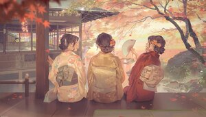 Rating: Safe Score: 120 Tags: autumn brown_hair building fan japanese_clothes jinn_avalon kimono leaves original scenic tree water watermark User: BattlequeenYume