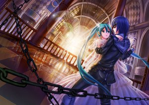 Rating: Safe Score: 87 Tags: blue_eyes blue_hair cantarella_(vocaloid) chain crazypen hatsune_miku jpeg_artifacts kaito male mask twintails vocaloid User: STORM