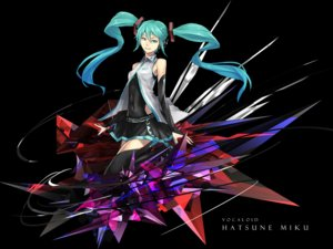 Rating: Safe Score: 12 Tags: aqua_eyes aqua_hair black hatsune_miku headphones long_hair skirt sugi_214 thighhighs twintails vocaloid User: FormX