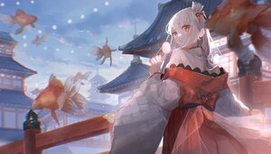 Rating: Safe Score: 42 Tags: animal building clouds crown fish gray_hair japanese_clothes long_hair original oyuyu red_eyes sky User: BattlequeenYume