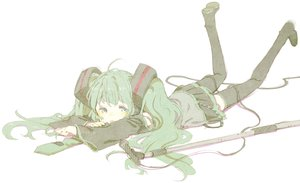 Rating: Safe Score: 37 Tags: abara_heiki hatsune_miku microphone sketch thighhighs vocaloid white User: FormX