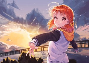 Rating: Safe Score: 49 Tags: blush braids clouds hoodie love_live!_school_idol_project love_live!_sunshine!! orange_hair pink_eyes siro_joon sky sunset takami_chika User: BattlequeenYume