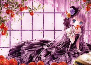 Rating: Safe Score: 184 Tags: apple blue_eyes book braids dress food fruit gothic goth-loli hat leaves lolita_fashion long_hair purple_hair scan tinkerbell tinkle User: opai
