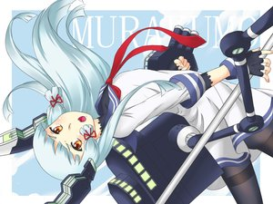 Rating: Safe Score: 32 Tags: anthropomorphism blue_hair blush bow brown_eyes gloves kantai_collection long_hair murakumo_(kancolle) pantyhose ribbons seifuku tagme_(artist) tie User: kokiriloz