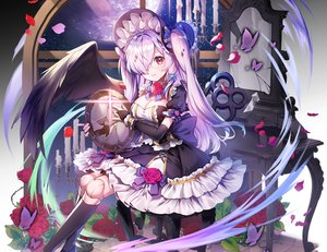 Rating: Safe Score: 87 Tags: aliasing applecaramel_(acaramel) bow breasts butterfly cleavage cropped doll dress elbow_gloves eyepatch flowers gloves goth-loli gray_hair headdress kneehighs lolita_fashion long_hair mirror original petals red_eyes rose twintails wings User: otaku_emmy