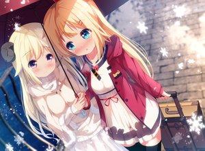 Rating: Safe Score: 86 Tags: 2girls akai_haato chinomaron hololive sheepgirl snow tsunomaki_watame User: sadodere-chan