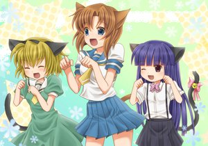 Rating: Safe Score: 65 Tags: animal_ears bell bitakoko blonde_hair blue_eyes blush bow brown_hair catgirl fang furude_rika higurashi_no_naku_koro_ni houjou_satoko purple_hair ribbons ryuuguu_rena school_uniform tail wink User: Robbyn