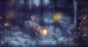 Rating: Safe Score: 124 Tags: all_male chevasis forest ginko_(mushishi) grass male mushishi night short_hair tree white_hair User: FormX
