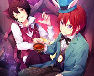 Rating: Safe Score: 36 Tags: alice_in_wonderland all_male animal_ears black_hair bow brown_hair bunny_ears catboy cosplay drink ensemble_stars! male nagimiya_(ngmy15) necklace purple_eyes red_eyes red_hair sakuma_ritsu shirt short_hair stars suou_tsukasa tail tie wink User: mattiasc02