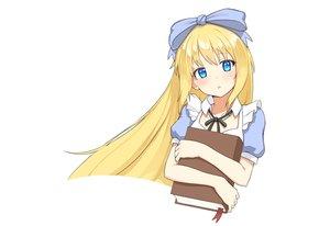 Rating: Safe Score: 61 Tags: alice_in_wonderland alice_(wonderland) aqua_eyes blonde_hair book bow headband long_hair original ribbonsnek white User: otaku_emmy