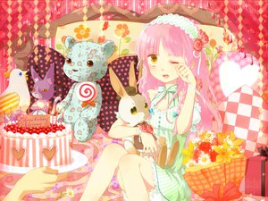 Rating: Safe Score: 35 Tags: animal bed bird candy flowers lollipop okitune-sama original pink_hair rabbit teddy_bear User: FormX