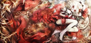 Rating: Safe Score: 46 Tags: dress flandre_scarlet garter kataru_(ubw-emiya) polychromatic red red_eyes skull socks touhou vampire white_hair wings User: FormX