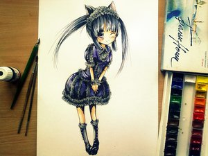 Rating: Safe Score: 52 Tags: blue_hair catgirl dress furude_rika higurashi_no_naku_koro_ni long_hair pavel photo sketch tagme twintails User: Korobeinik