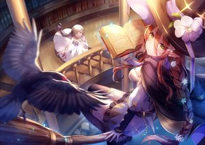 Rating: Safe Score: 107 Tags: 2girls animal bird book braids brown_hair cape dress flowers garter_belt green_eyes hat itsia long_hair pointed_ears ponytail thighhighs witch witch_hat User: BattlequeenYume