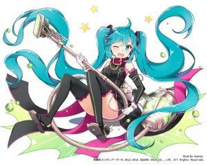 Rating: Safe Score: 71 Tags: aqua_eyes aqua_hair collar cosplay dress gloves hatsune_miku kaku-san-sei_million_arthur long_hair nyanya thighhighs twintails vocaloid watermark wink User: otaku_emmy