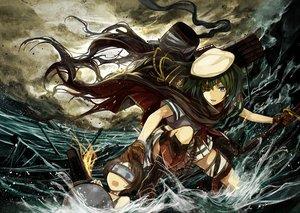 Rating: Safe Score: 104 Tags: 2girls anthropomorphism cape eyepatch gloves goggles hat kantai_collection kazabana_fuuka kiso_(kancolle) maru-yu_(kancolle) skirt sword water weapon User: Flandre93
