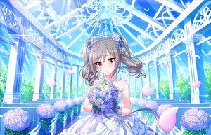 Rating: Safe Score: 68 Tags: annin_doufu blush dress flowers gray_hair idolmaster idolmaster_cinderella_girls kanzaki_ranko long_hair petals red_eyes twintails wedding wedding_attire User: Eleanor
