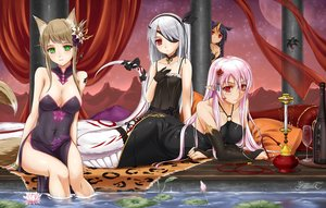 Rating: Safe Score: 335 Tags: animal_ears black_hair bow breasts brown_hair chinese_clothes chinese_dress choker cleavage dress drink elbow_gloves eyepatch flowers gloves green_eyes group headband midnight original pink_hair pixiv_fantasia pointed_ears red_eyes ribbons sake tail tattoo water white_hair wristwear User: Wiresetc