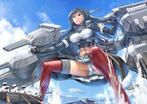 Rating: Questionable Score: 45 Tags: anthropomorphism black_hair boat brown_eyes clouds ebizome elbow_gloves gloves kantai_collection long_hair nagato_(kancolle) navel panties sky spread_legs thighhighs underwear water weapon User: BattlequeenYume