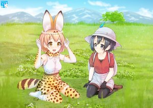 Rating: Safe Score: 35 Tags: 2girls animal_ears anthropomorphism black_eyes black_hair blonde_hair bow breasts catgirl clouds crown elbow_gloves gloves grass hat kaban kemono_friends pantyhose serval short_hair shorts skirt sky tagme_(artist) tail thighhighs tree yellow_eyes User: RyuZU