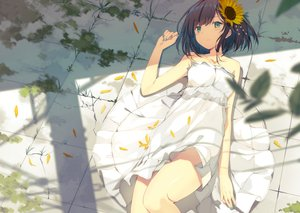 Rating: Safe Score: 147 Tags: brown_hair dress flowers green_eyes original petals short_hair summer_dress sutorora User: RyuZU