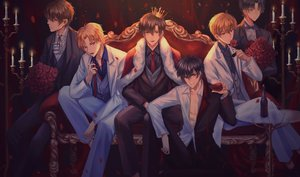 Rating: Safe Score: 24 Tags: all_male couch crown drink flowers group male rose suit tagme tagme_(artist) tie User: luckyluna