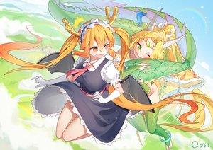 Rating: Safe Score: 55 Tags: 2girls bai_yemeng horns kobayashi-san_chi_no_maid_dragon maid signed tagme_(character) tail tooru_(maidragon) twintails wink User: BattlequeenYume