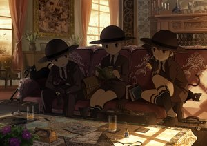 Rating: Safe Score: 6 Tags: all_male animal book cat couch dark drink flowers gloves hat kneehighs male noeyebrow_(mauve) original paper shade shorts signed suit teddy_bear tie User: RyuZU