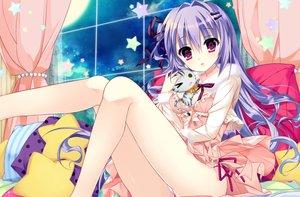 Rating: Safe Score: 74 Tags: animal breasts cat dress long_hair panties pink_eyes purple_hair shiwasu_horio stars underwear User: RyuZU
