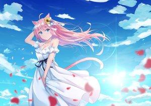 Rating: Safe Score: 80 Tags: animal_ears aqua_eyes breasts catgirl cleavage clouds dress f_(milfaaaaa) original pink_hair sky summer_dress User: sadodere-chan