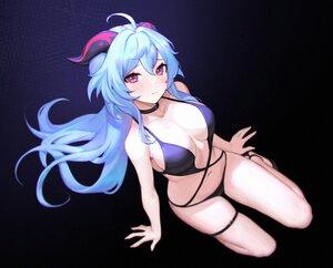 Rating: Safe Score: 102 Tags: aqua_hair bikini black ganyu_(genshin_impact) genshin_impact gradient horns long_hair navel purple_eyes siun swimsuit User: BattlequeenYume