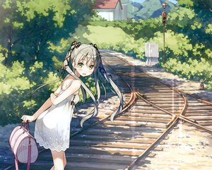 Rating: Safe Score: 246 Tags: 5_nenme_no_houkago blush building cropped dress flat_chest gray_hair green_eyes kantoku landscape leaves long_hair original scan scenic summer_dress train tree twintails User: mattiasc02