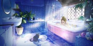 Rating: Safe Score: 32 Tags: animal bath bathtub brown_hair cat maeda_mic original scenic User: FormX