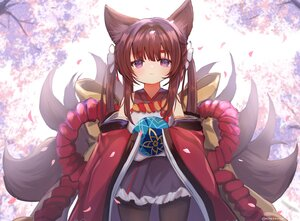 Rating: Safe Score: 53 Tags: amagi_(azur_lane) amagi-chan_(azur_lane) animal_ears anthropomorphism azur_lane brown_hair japanese_clothes loli long_hair multiple_tails pantyhose petals purple_eyes rope signed skirt tail twintails umika35 User: otaku_emmy